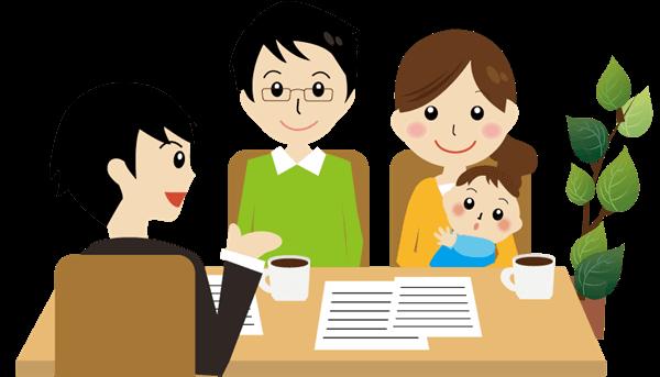 土地の売買契約で宅地建物取引士から重要事項説明を受ける夫婦