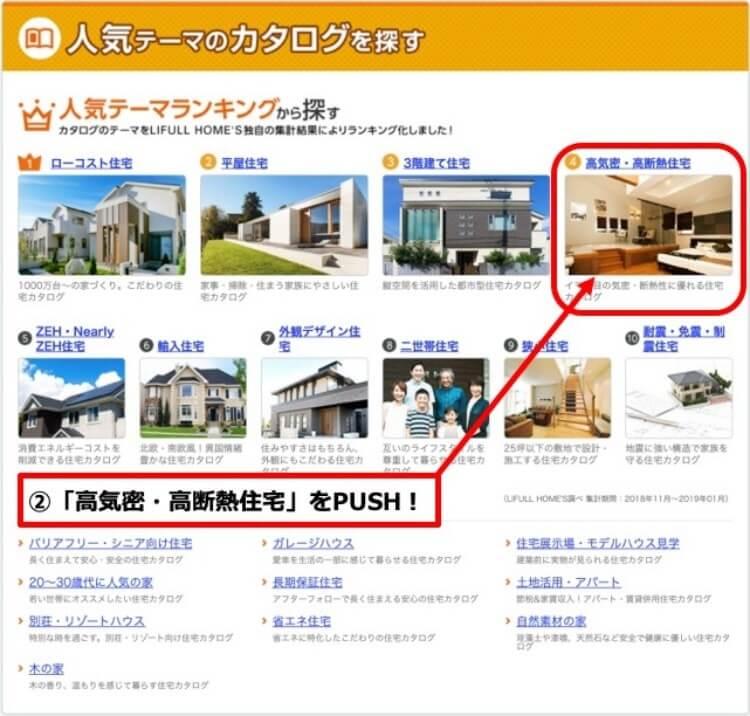 STEP2.「人気テーマのカタログから探す」選択ページから家づくりで重視したいテーマを選ぶ