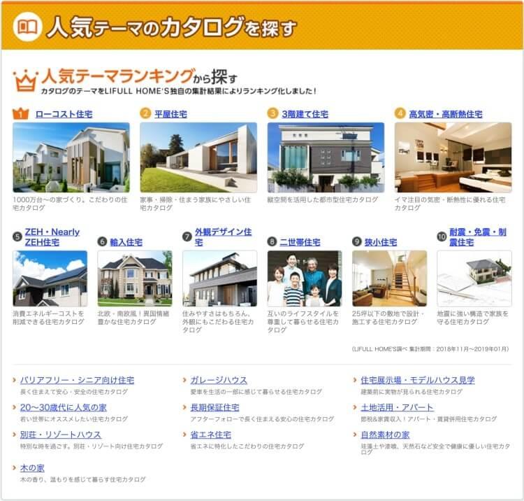 LIFULL HOME'S(ライフルホームズ)無料一括資料請求の「人気テーマからカタログを探す」選択ページ